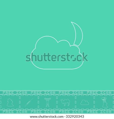 Moon and clouds. White outline flat icon and bonus symbol. Simple illustration pictogram on green background - stock photo
