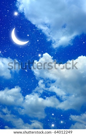 moon and star in The night blue sky. - stock photo