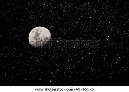 Moon and Starry Night Sky - stock photo