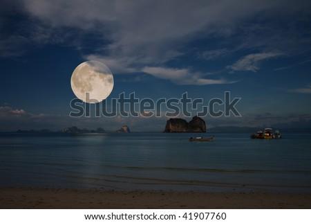 moon and tropical sea - stock photo