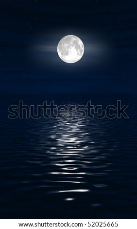 Moon and water - stock photo
