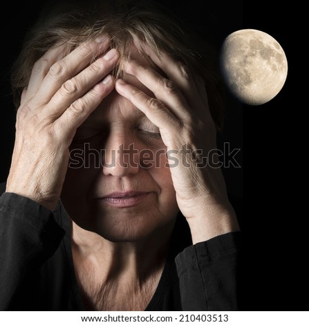 moon and woman - insomnia - stock photo