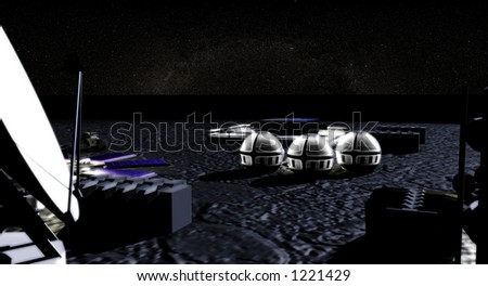 moon base settlement on the moon - stock photo