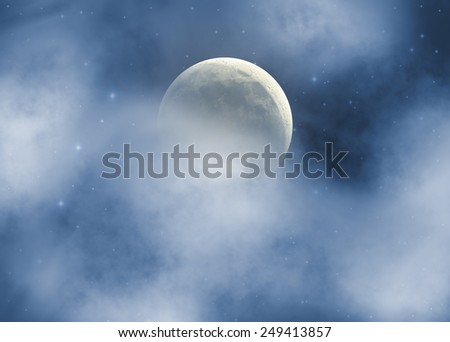 Moon behind clouds and among thousands of stars in deep space. Moon is my astrophotography work. - stock photo