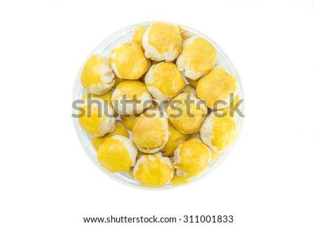 Moon cake in Thai style on white background - stock photo
