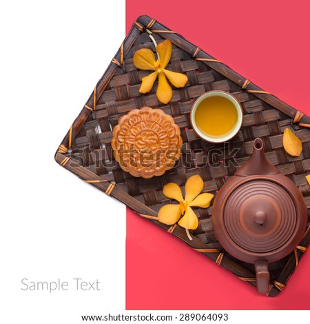 Moon cakes for the Chinese Mid-autumn festival. angle view from above with copyspace  - stock photo