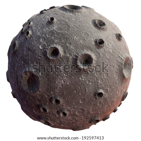 Moon 3d on a white background. Lunar craters and bumps. 3D image of the full moon. Isolated - stock photo