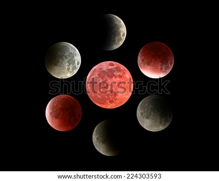 Moon eclipse mosaic.  - stock photo