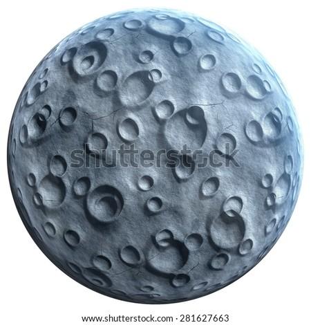 Moon isolated on white background - stock photo