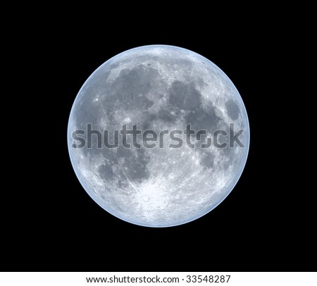 Moon, isolated over black - stock photo
