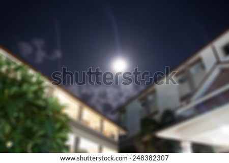 Moon light shone on the housing Thailand blurred background - stock photo