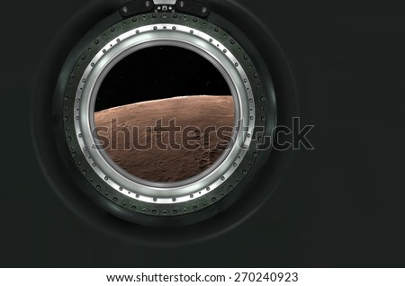 Moon, Mars of alien planet landscape. View from spaceship. Elements of this image furnished by NASA. - stock photo