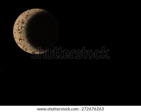 Moon on a starry night sky - stock photo