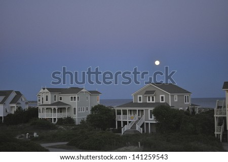 Moon over Holden Beach, NC - stock photo