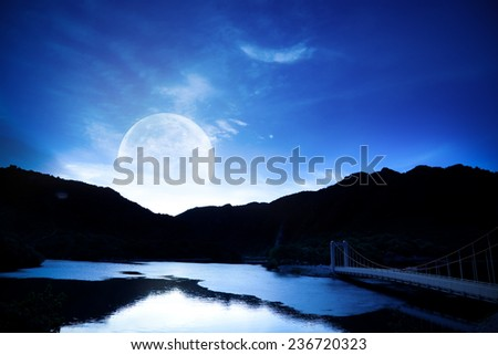 Moon over mountain lake Outdoors shot - stock photo