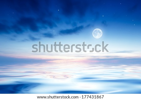 Moon over sea - stock photo