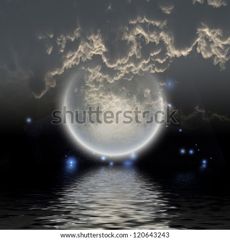 Moon over water - stock photo