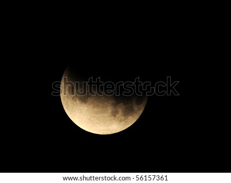 moon, partial lunar eclipse as seen from Los Angeles, California June 26th 2010 - stock photo