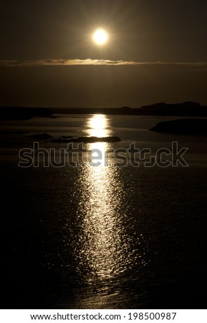 Moon Path in the ocean. - stock photo