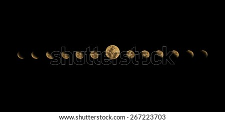 Moon phases from crescent to half to full - stock photo