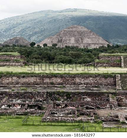 Moon Pyramids archaeological dig in Teotihuacan - Mexico, Latin America - stock photo