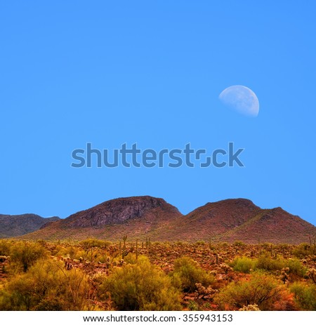 Moon rising Sonora desert in central Arizona USA - stock photo