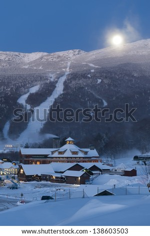 Moon setting of Mt. Mansfield, Stowe, Vermont, USA - stock photo