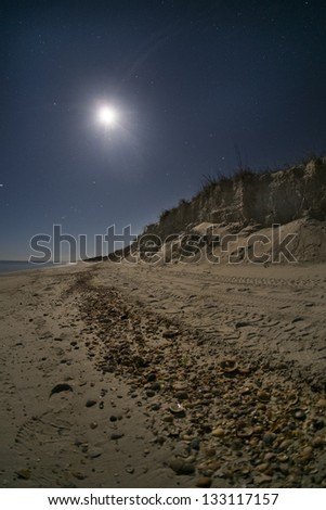 Moon shining on a sandy beach - stock photo
