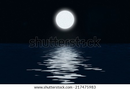 Moon, the stars and moonlit path on the water surface - stock photo