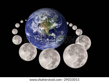 Moon travelling and circumnavigating the planet earth  (nasa imagery) - stock photo
