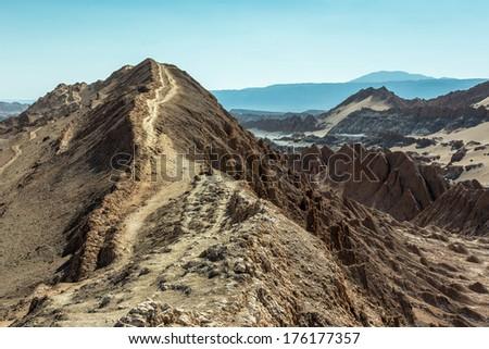 Moon Valley in Atacama Desert (panorama), Chile - stock photo