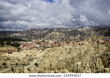 Moon Valley in La Paz, Bolivia, with view to the city - stock photo