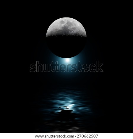 Moon with blue star reflecting on water at night. No NASA elements used - stock photo
