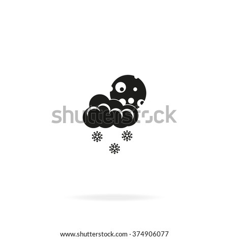 Moon with cloud and snow. - stock photo