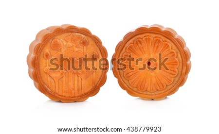 mooncake on white background. - stock photo