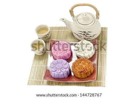 mooncake with tea - stock photo