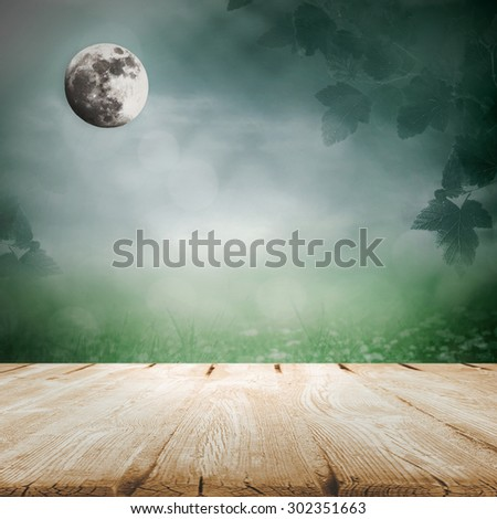 Moonlight in the meadow with wooden blank table - stock photo