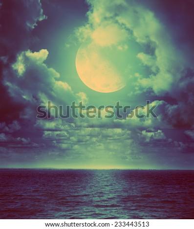 Moonlight. Retro stale. - stock photo