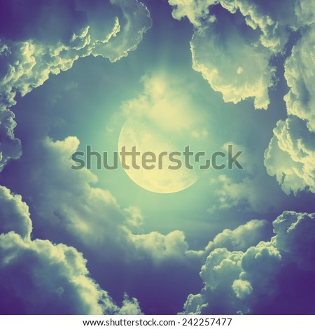 Moonlight. Retro stale. - stock photo
