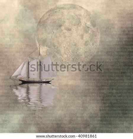 Moonlit Cruise - stock photo