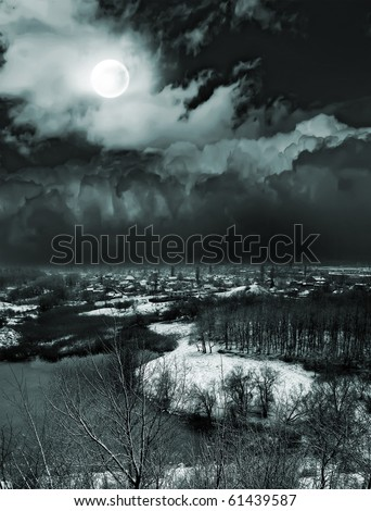 moonlit night and clouds on night sky - stock photo
