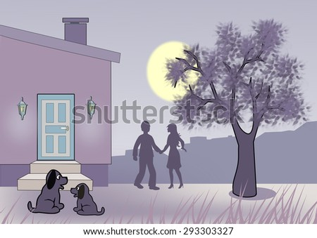 Moonlit night where two puppies are sitting together in front of a house, and a couple are standing and talking together by a tree.  - stock photo