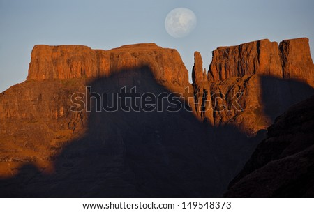 Moonrise over Devil's Tooth - stock photo