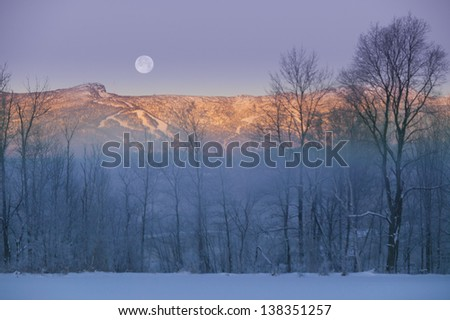 Moonrise over Mt. Mansfield, Stowe, Vermont, USA - stock photo