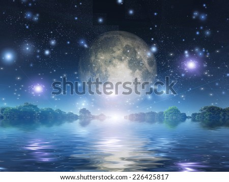 Moonrise over water - stock photo