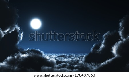moonshine over the clouds - stock photo