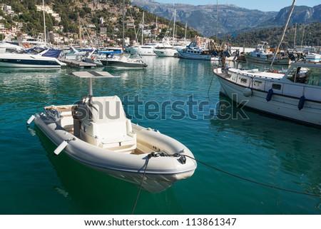 Moored boats at lagoon in Mallorca Spain - stock photo
