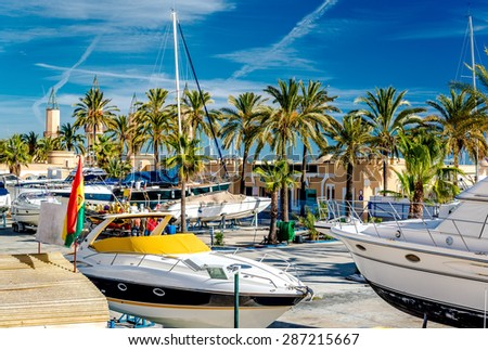 Moored boats in the Fuengirola seaport. Malaga Province, Andalusia. Spain - stock photo
