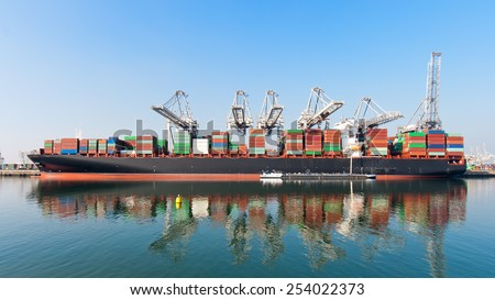 Moored container ship - stock photo