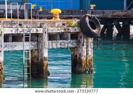 mooring pier fishing boats in Auckland, New Zealand - stock photo